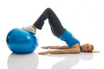Anti-Burst Exercise Ball + Bag and Pump (65cm Blue)