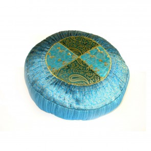 "Round Meditation Cushion 16"" x 16"" - Blue Agra"