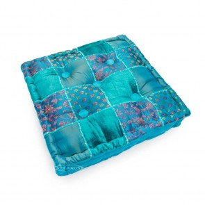 "Square Meditation Cushion 16"" x 16"" - Blue Taj"