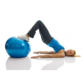 Anti-Burst Exercise Ball + Bag and Pump (65cm Blue)